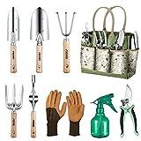 Aerb Gartenwerkzeug Set, 9 Teiliges Hochleistungs Aluminium Gartengeräte, Garten Handwerkzeuge im Freien mit Gartenschere X-Large Tragetasche, Werkzeugbeutel Garten Geschenk-Set für Männer oder Frauen