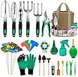 AILUKI Gartenwerkzeug Set 82 Pcs Extra Saftiges Werkzeugset, Hochleistungs Gartengeräte aus Aluminium mit Gummierten Rutschfesten Griffwerkzeugen,Aufbewahrungstasche, Plant Labels für Geschenke
