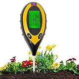 Aulande Bodentester Feuchtigkeitsmessgerät Pflanzen 4-in-1 Bodentemperatur/Licht/pH-Wert/Feuchtigkeitsmesser Messgerät für Garten, Bauernhof, Rasen, Innen und Außen