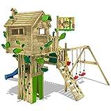 WICKEY Baumhaus Smart Treetop Kletterturm Spielturm mit blauer Rutsche, Doppelschaukel und vielen Klettermöglichkeiten