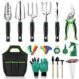 Anykuu Gartenwerkzeug Set 18 Stück Gartengeräte Werkzeugbeutel Garten zum Pflanzen tragbares Gartenwerkzeug-Set Aluminiumlegierung