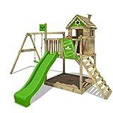 FATMOOSE Spielturm RockyRanch Roll XXL - Klettergerüst mit Stelzenhaus, Schaukel, Sandkasten, Kletterleiter und apfelgrüner Wellenrutsche