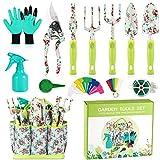 Gartengeräte-Set Gartengeschenke - Gartenwerkzeug 13PCS Hochleistungs-Aluminium-Gartenhandwerkzeuge mit Gummigriff mit Blumendruck und haltbarer Aufbewahrungstasche, Gartenbedarf für Frauen im Freien