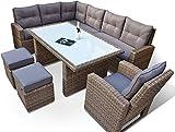 RAGNARÖK hohe Dinning Lounge - DEUTSCHE Marke - 8 Jahre GARANTIE EIGENE Produktion - PolyRattan Gartenmöbel Essgruppe Hocker Sessel verstellbare Lehn Naturfarben Rundrattan