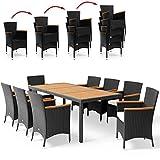Poly Rattan 8+1 Sitzgruppe 8 Stapelbare Stühle 7cm Dicke Auflagen Gartentisch Armlehnen Holz Gartenmöbel Set Schwarz