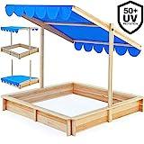 Deuba Sandkasten 140x140cm mit höhenverstellbarem und neigbarem Sonnendach UV-Schutz >50 Sandkiste Kindersandkasten Buddelkiste Sandbox Sandkiste Kinder