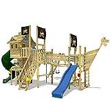 WICKEY Spielturm Klettergerüst Neverland GOLD mit Turborutsche mit Schaukel & blauer Rutsche, Spielhaus mit Kletterleiter & Spiel-Zubehör