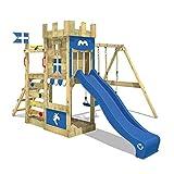WICKEY Spielturm Ritterburg RoyalFlyer mit Schaukel & blauer Rutsche, Spielhaus mit Sandkasten, Kletterleiter & Spiel-Zubehör