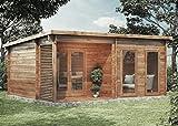 CARLSSON Alpholz Gartenhaus Orkus-44 aus Massiv-Holz | Gerätehaus mit 44 mm Wandstärke | Garten Holzhaus inklusive Montagematerial | Geräteschuppen Größe: 540 x 420 cm | Pultdach